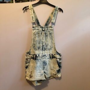 Denim shorts overalls